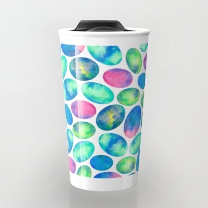 Stone Eggs Travel Mug #art #eggs #stoneeggs #pattern #abstract #design #decor #colorful #travel #coffee #travelmug #society6