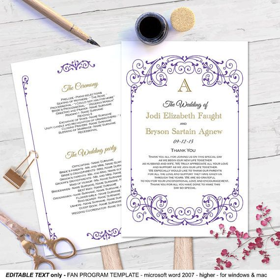Purple Fan wedding program template-DIY by MyPrintablePaperie