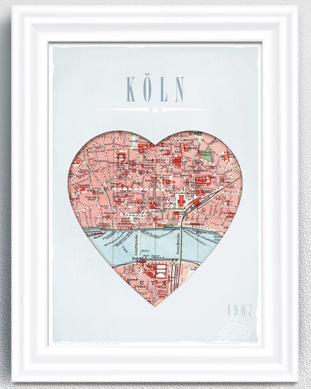 Wanddeko Herz Koln A4 Print Ein Designerstuck Von Galerie Im Wandel Bei Dawanda Basteln Organisation Lustige Diy Geschenke Und Landkarte