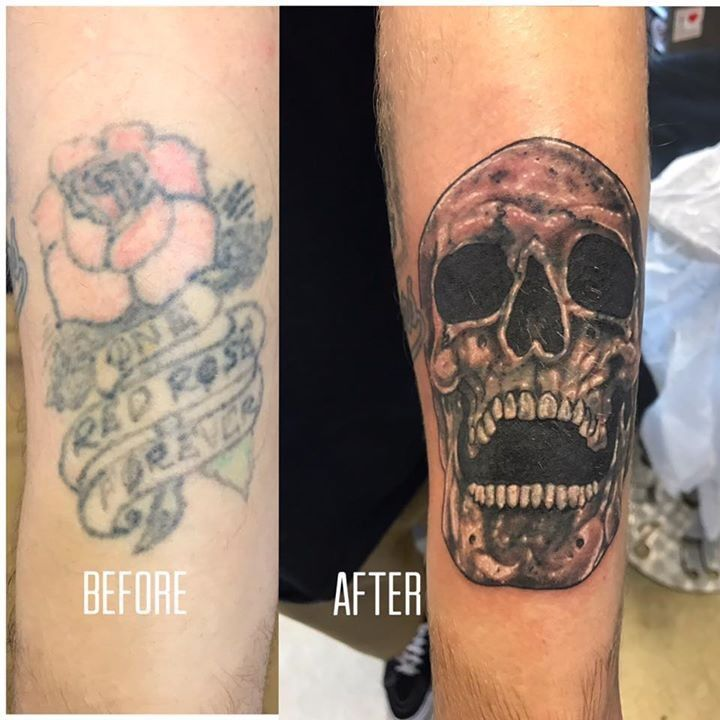 Coverup tattoo by aaron from cross over tattoo studio