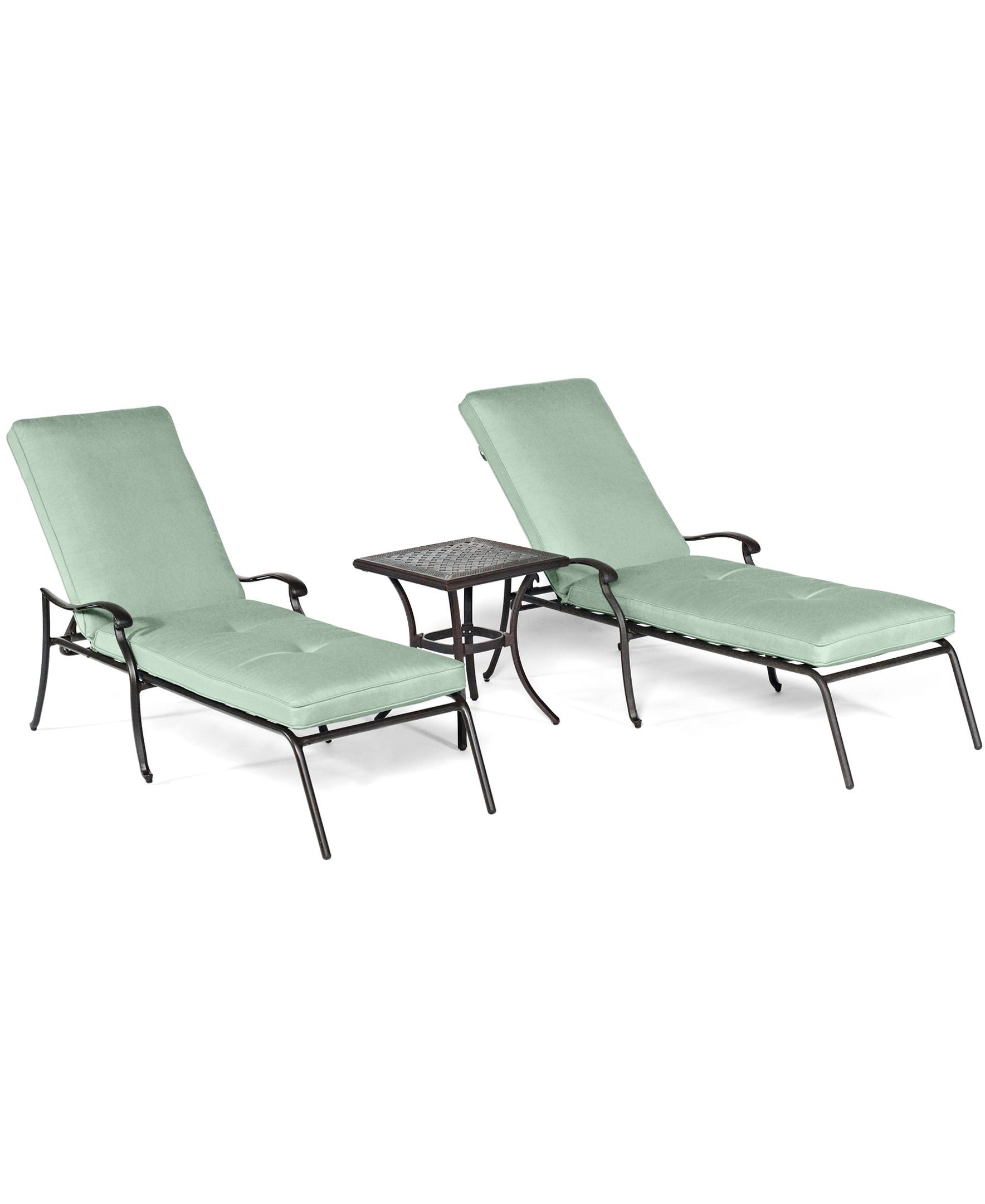 Nottingham Outdoor Patio Furniture, 3 Piece Chaise Set (2 Chaise Lounges, 1 End Table)