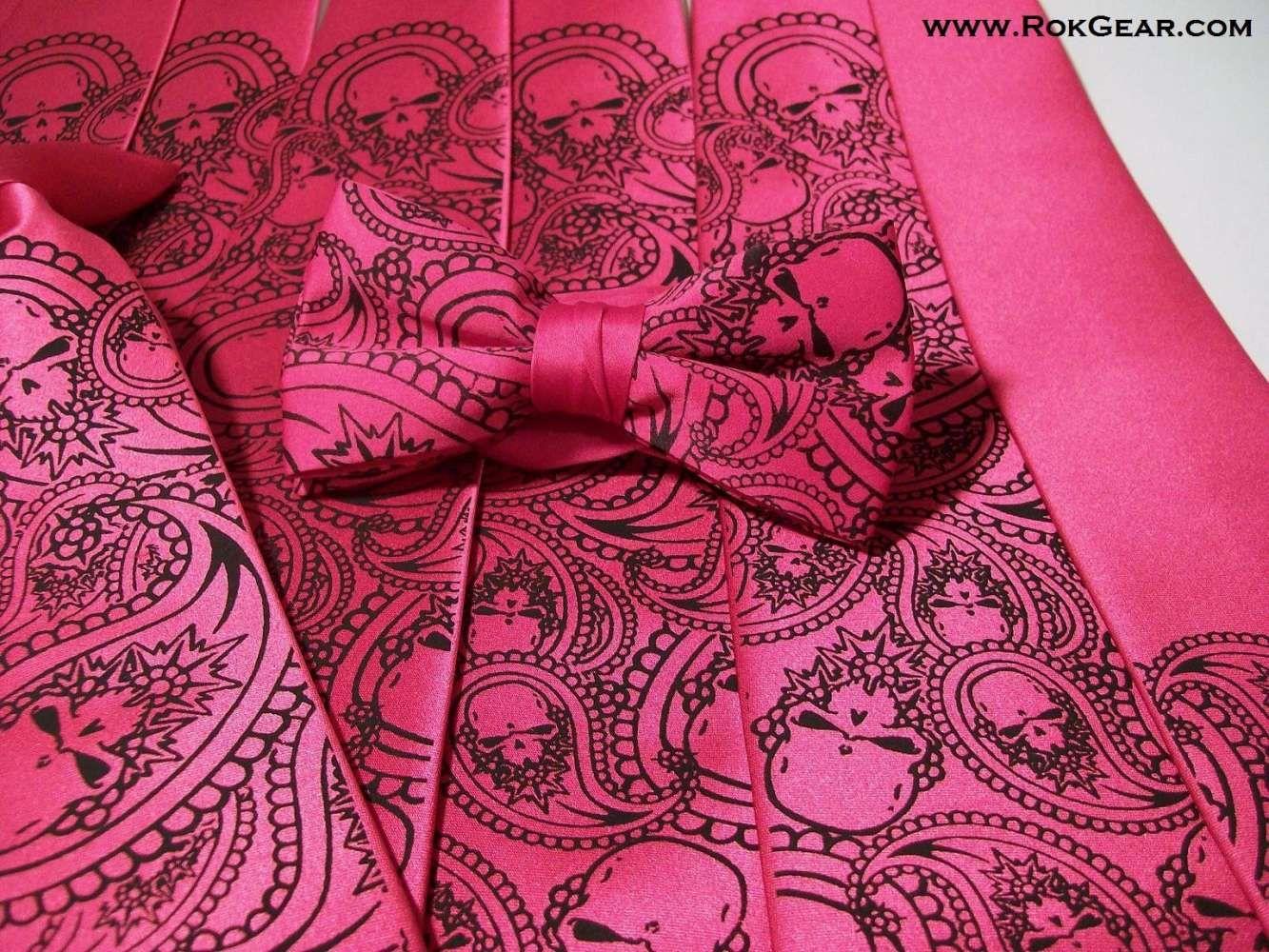 Paisley Skullz Design Printed In Black Ink On Fuchsia Ties Boy S Bow Tie Www
