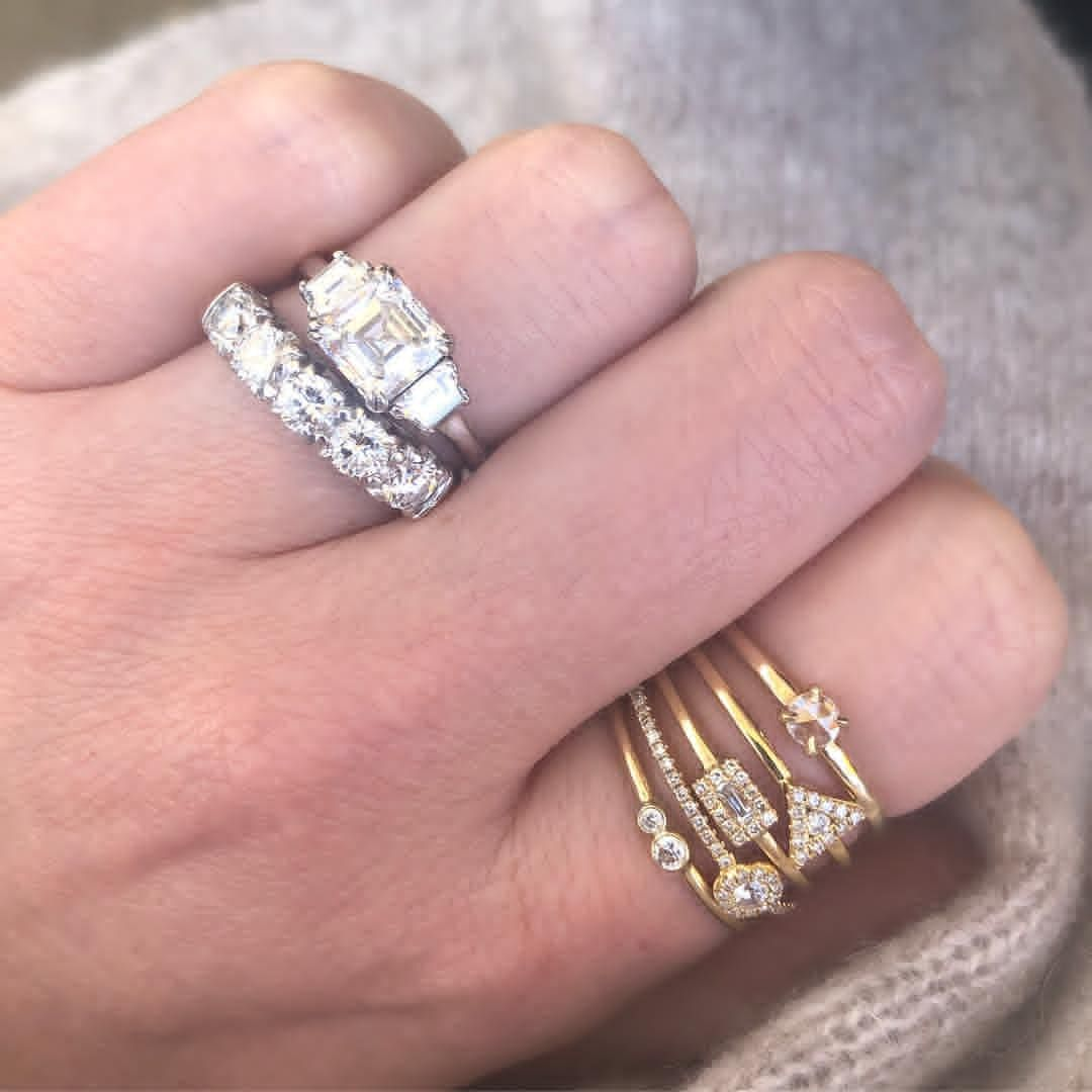 Mixing white gold and yellow gold asscher cut - fine jewelry ...
