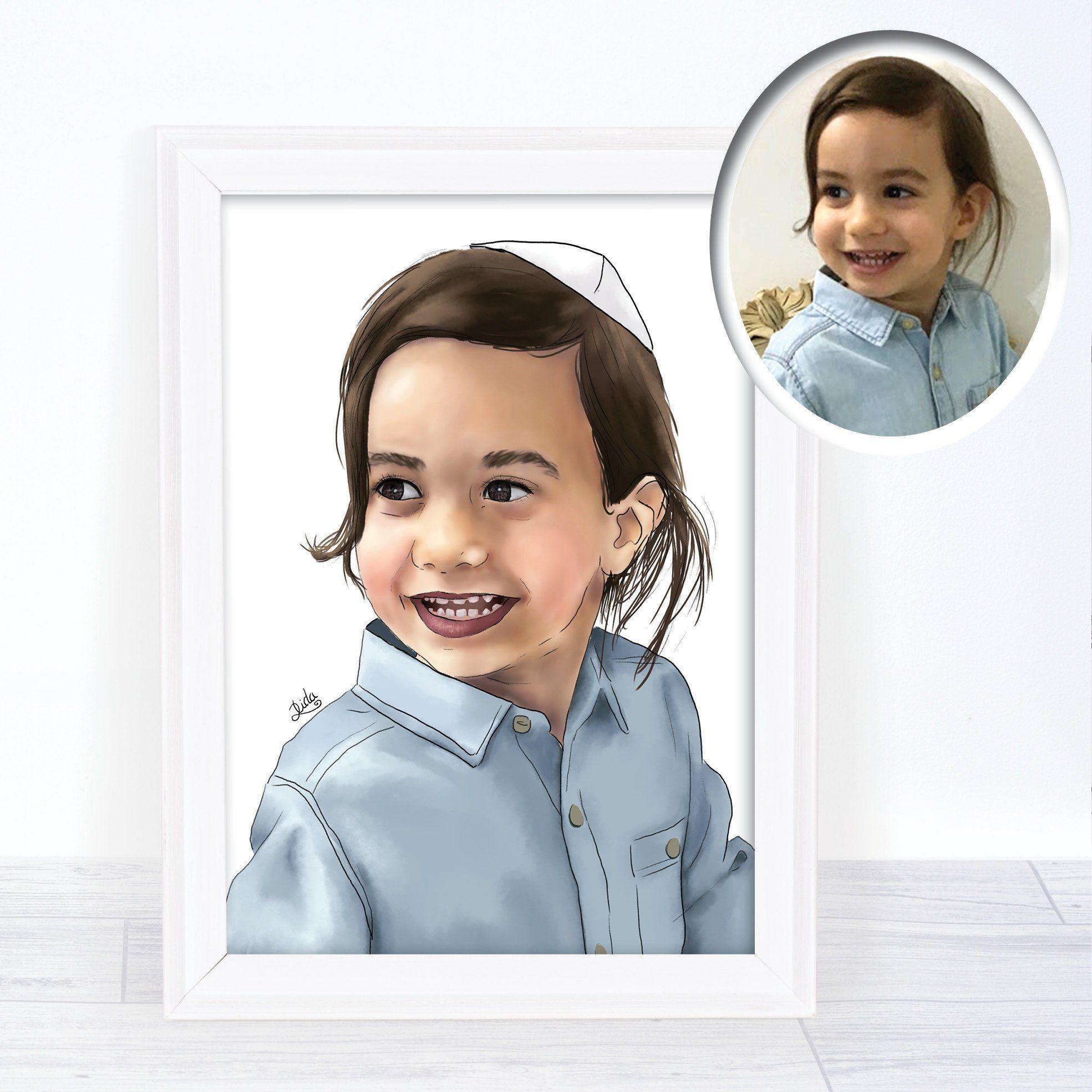 Custom child portrait kids portrait modern artwork gift