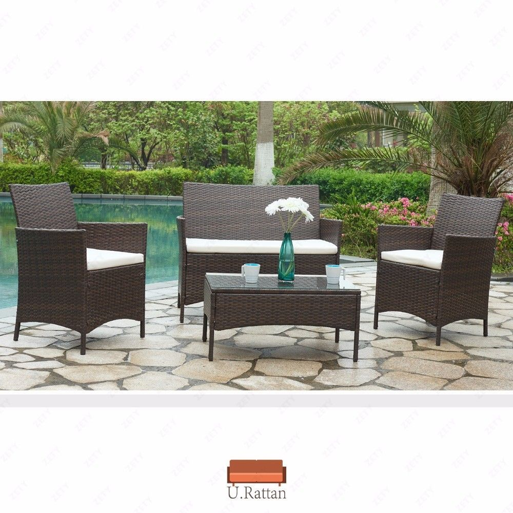 pcs outdoor patio pe rattan wicker table shelf sofa furniture set