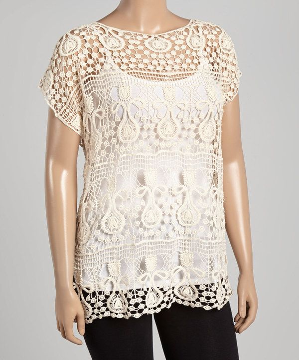 Look at this Simply Irresistible Natural Crochet Top - Plus on #zulily today!