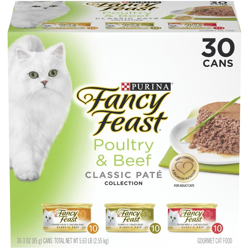 Purina Fancy Feast Grain Free Pate Variety Pack Poultry Beef Collection Wet Cat Food Cans 3oz 30ct Fancy Feast Cat Food Cat Food Canned Cat Food