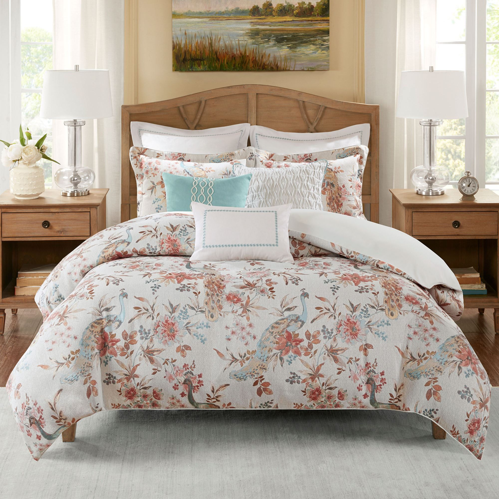 Annandale Peacock Floral 9 10 Pc Comforter Bed Set By Madison Park