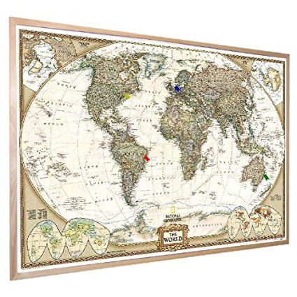 National geographic antique world pinboard map wood framed with flag world pinboard map ng with wood framewall maps large world map posters outstanding maps atlas travel guides gumiabroncs Images