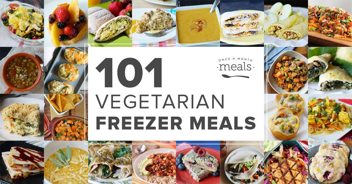 Looking for meatless meals? We have 101 Vegetarian freezer meals based on seasonal produce. Mix and match to create a custom meal plan!