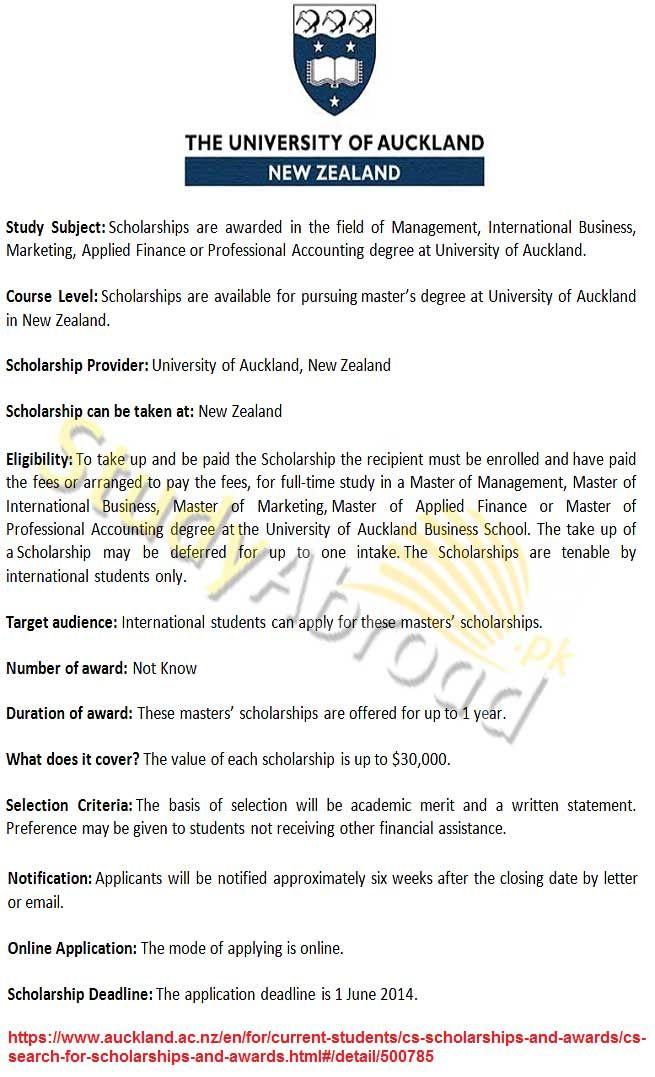 Master Scholarships At Auckland University New Zealand 2014