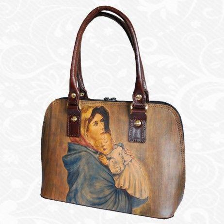 Originálna ručne maľovaná kožená kabelka. Existuje len jeden kus. Každý jeden kus ručne maľovaných výrobkov je umelecké dielo. Kabelka je neopakovateľný originál s nádhernou maľbou.  Motív: Roberto Ferruzzi – Madonna della strada