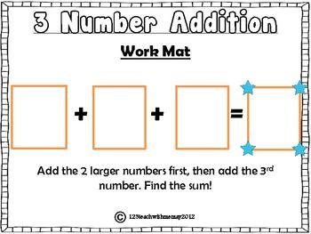 Adding 3 Numbers Work Mat Math School Math Addition 2nd Grade Math