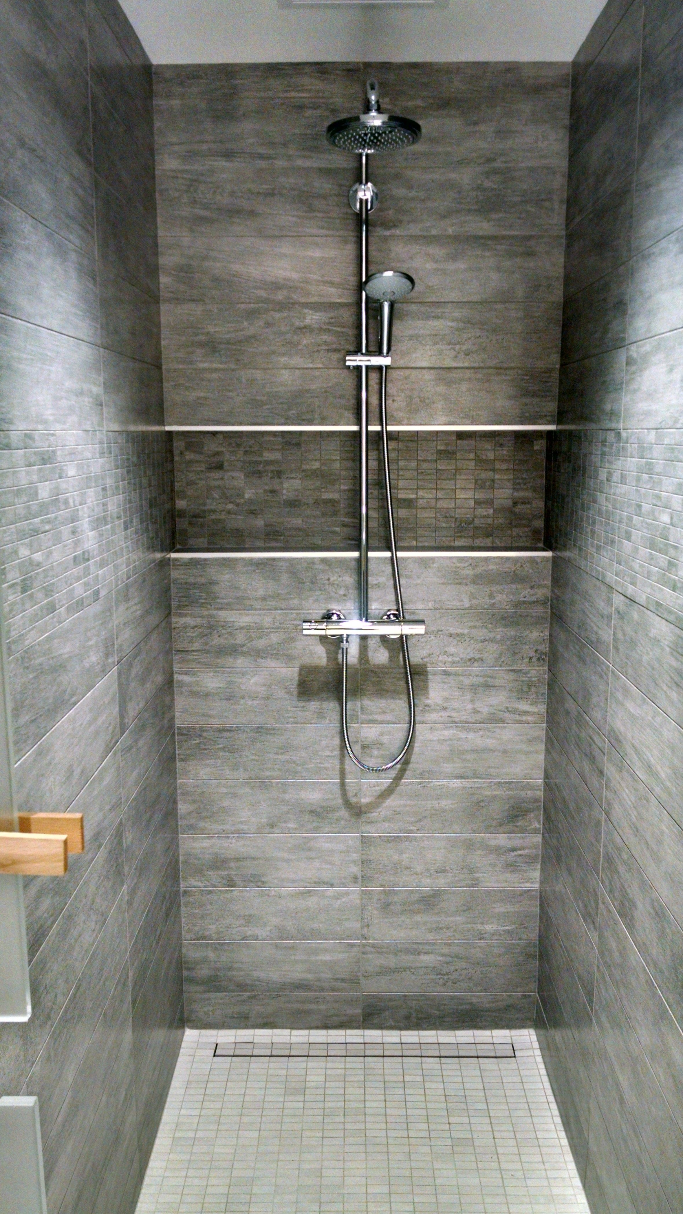 Locker Room Shower Grohe Valve With Tile Covered Linear Drain No