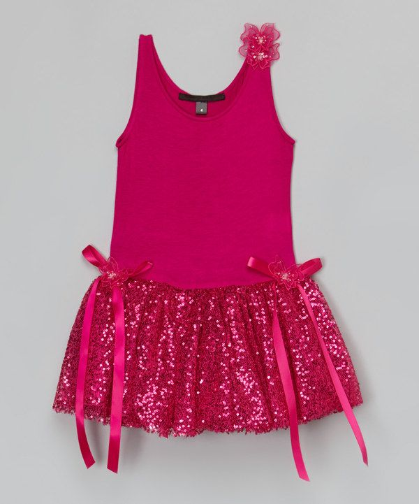 Look at this Magenta Sequin Tank Dress - Infant, Toddler