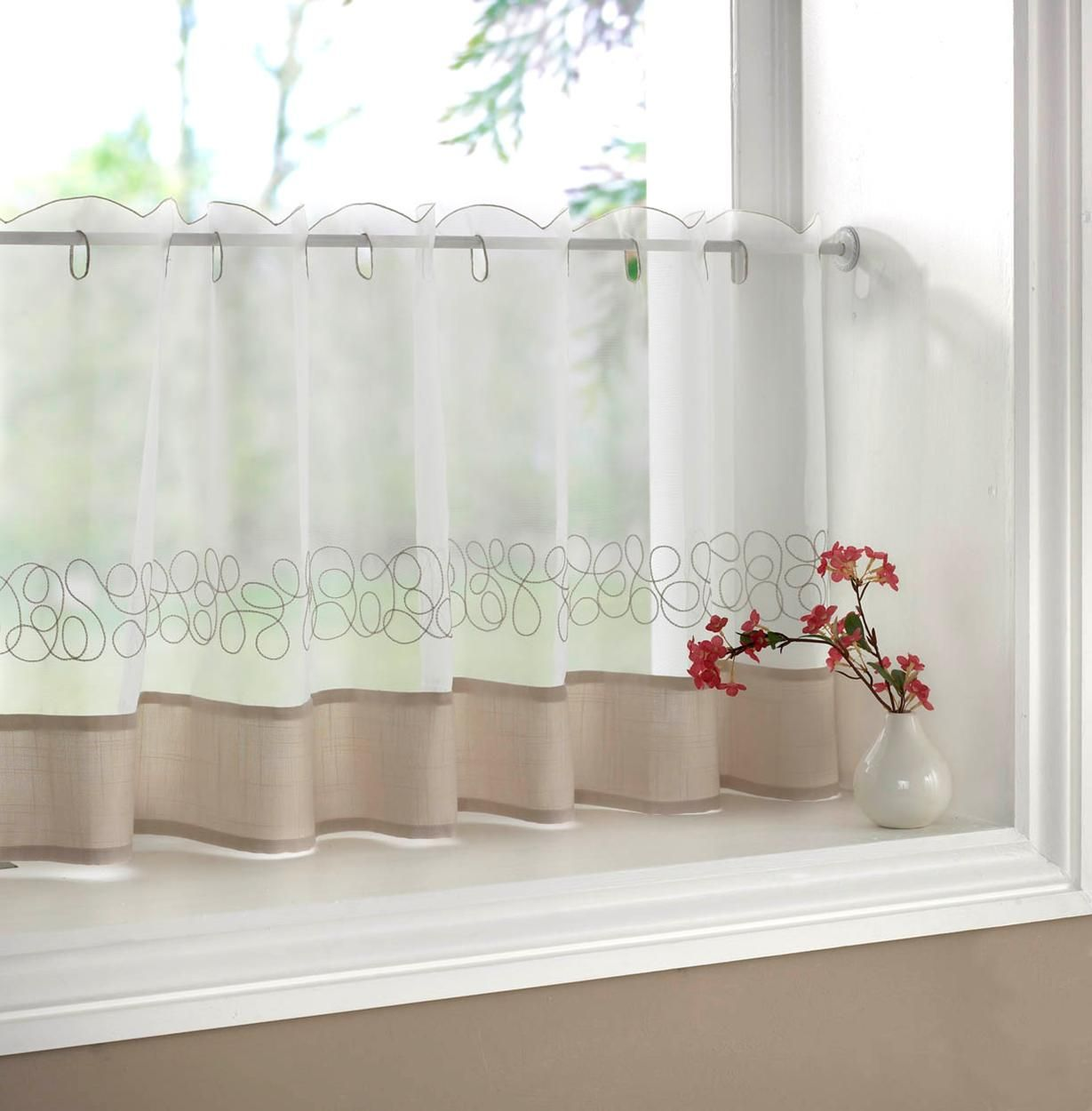 Pretty Half Window Curtains On Window With Small Vase And Flower