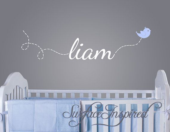 Wall Decal Baby Name Decal With Flying Bird 1002 Sur Etsy 22 47 Nursery Wall Decals Nursery Wall Decor Boy Baby Boys Wall