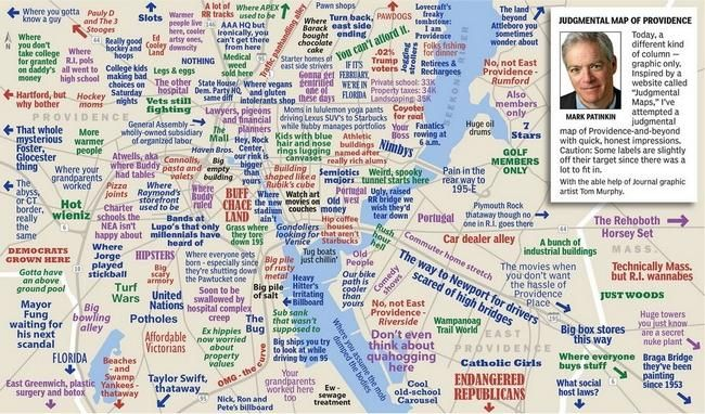 Mark Patinkins Judgemental Map Of Providence Has Got More - Rhode island city map