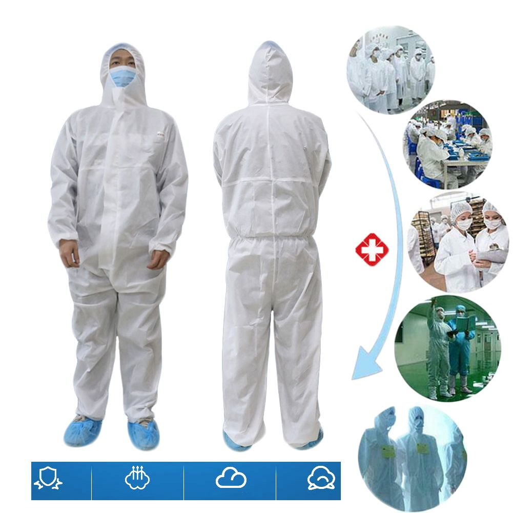 Security Protection Clothes Disposable Coverall Dust-Proof Clothing Nonwovens White,L