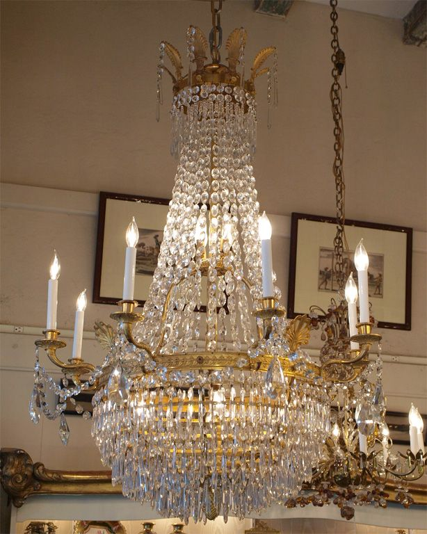 Antique French Empire Ormulu and Baccarat Crystal Chandelier - Antique French Empire Ormulu And Baccarat Crystal Chandelier
