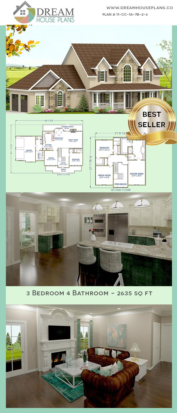 Dream House Plans Popular Southern 3 Bedroom 2635 Sq Ft