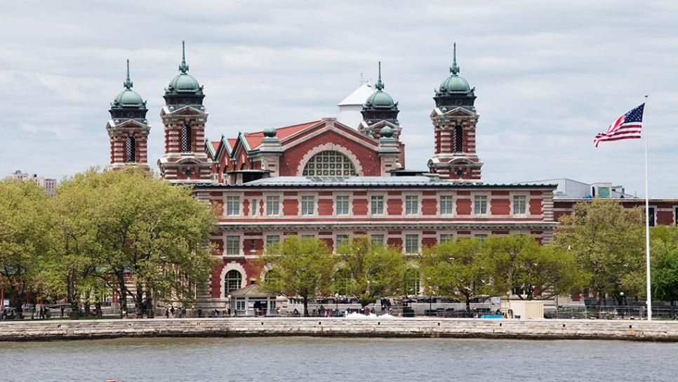 The Main Building at Ellis Island in New York Harbor, where many immigrants  first set