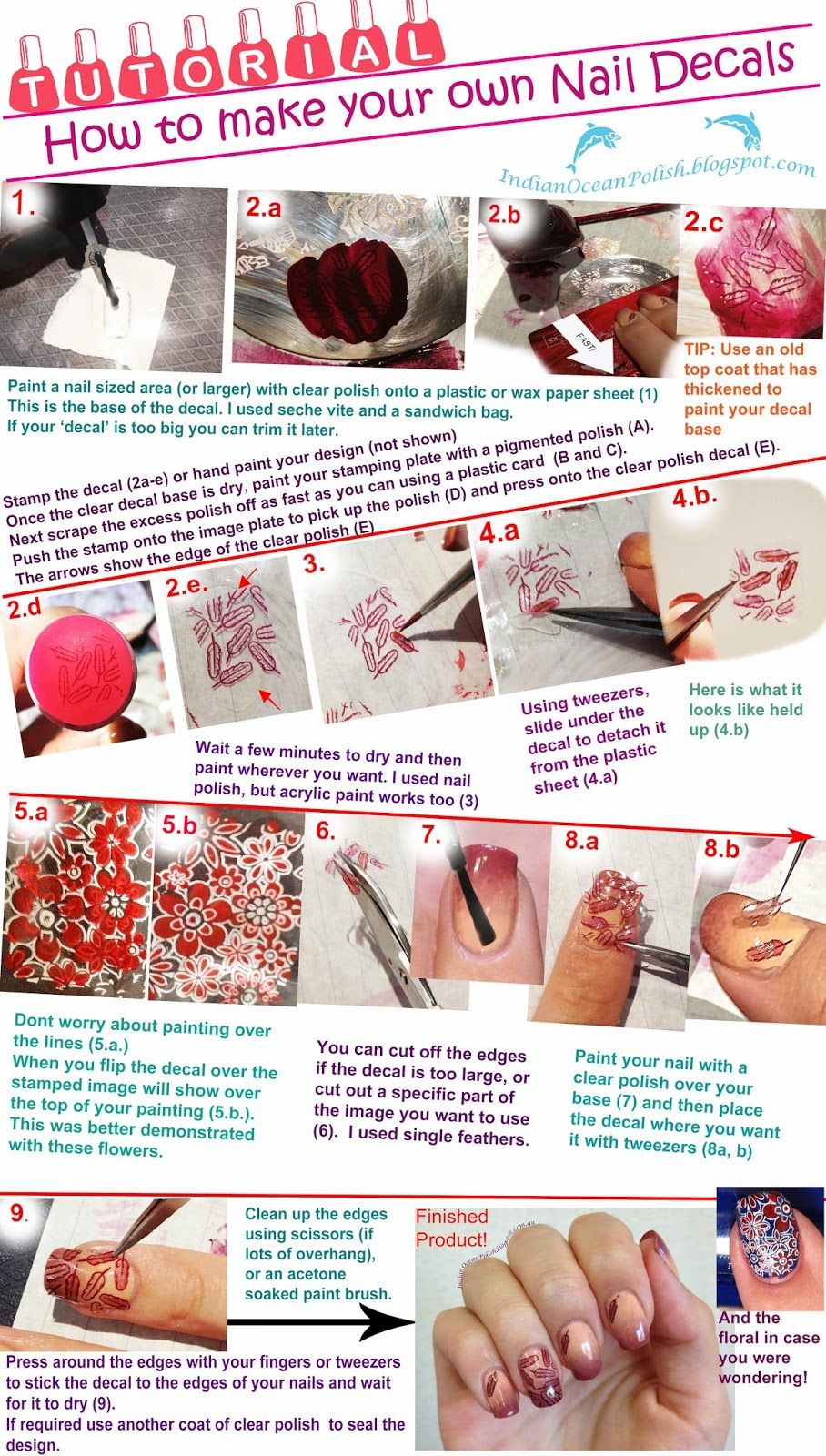 Indian Ocean Polish: Home Made Floral Nail Decals With MoYou You ...
