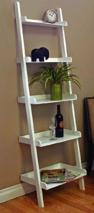 "1 X Unique 72""h Leaning Ladder Style Magazine / Book Shelf White"