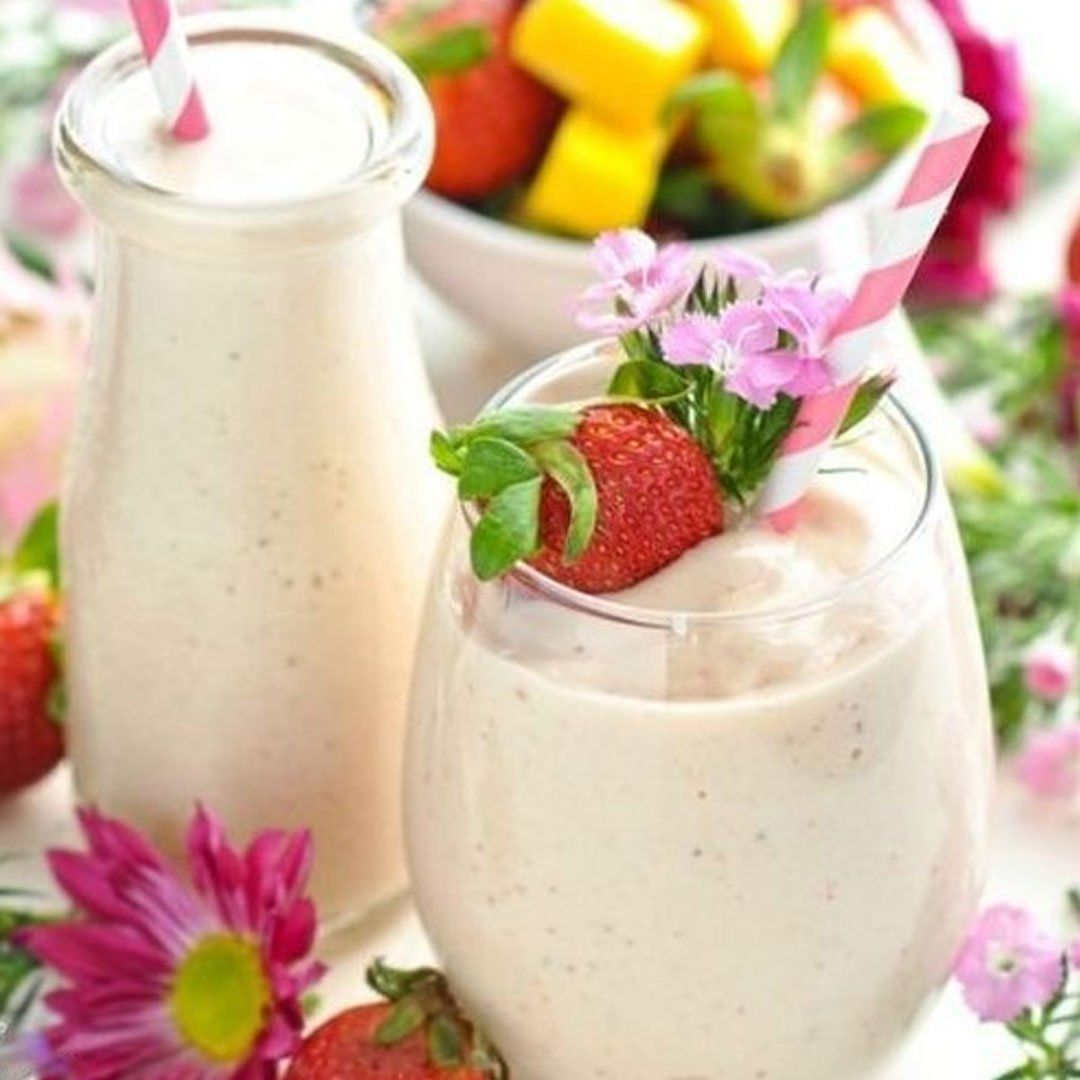 Healthy strawberry smoothie with mango in 2020