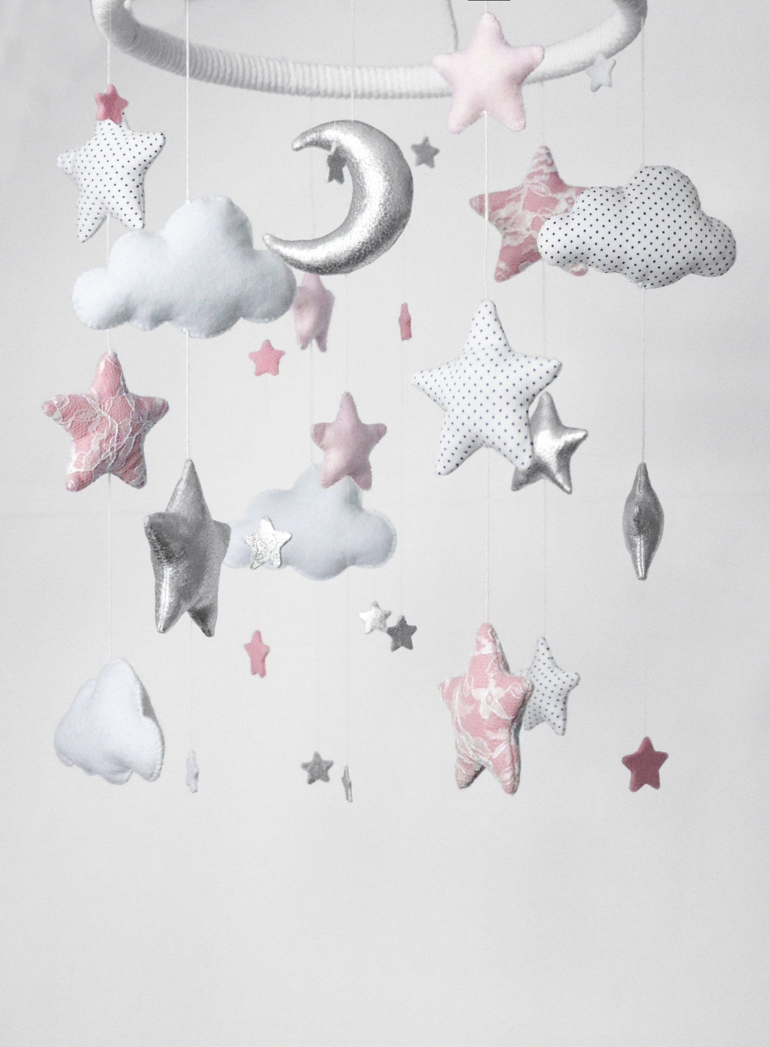 Baby Crib Star Cloud Mobile Decorations for Baby Bedroom Photography Decoration Warm Atmosphere Pink