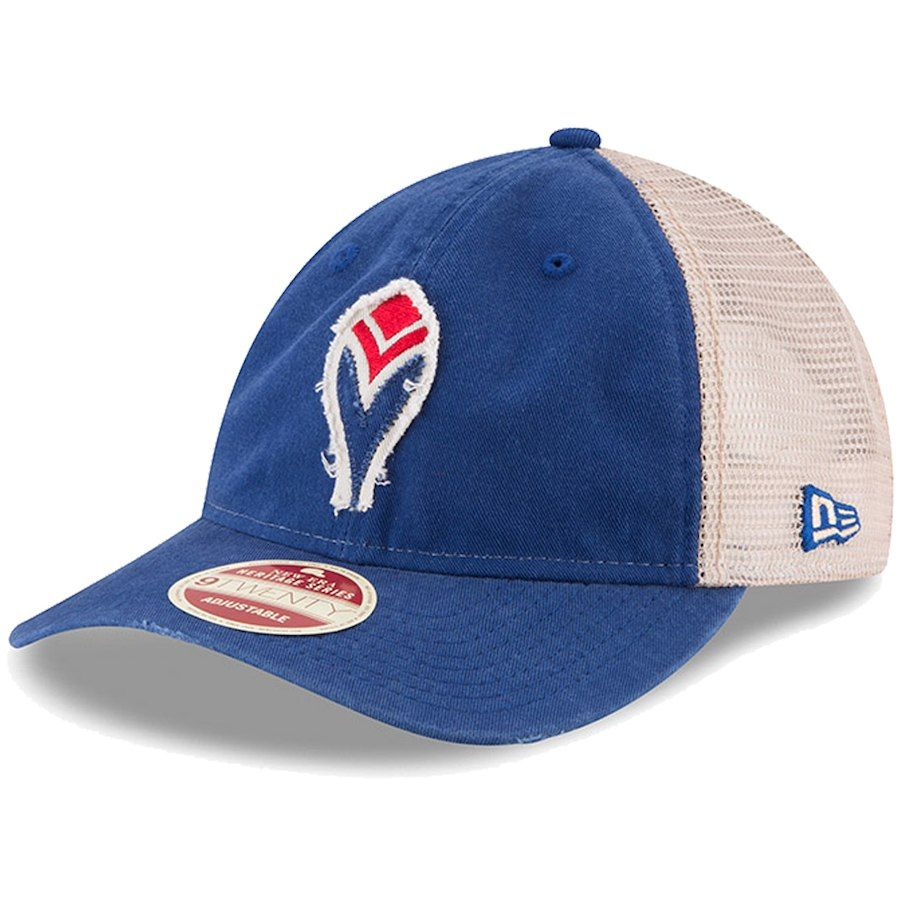 New Era Atlanta Braves Blue Frayed Twill Trucker 9twenty Adjustable Hat Adjustable Hat Atlanta Braves Braves