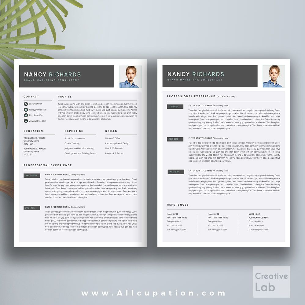 Creative Resume Template, Cover Letter, Word, Modern Simple Teacher Resume,  Instant Download, Mac Or PC, NANCY