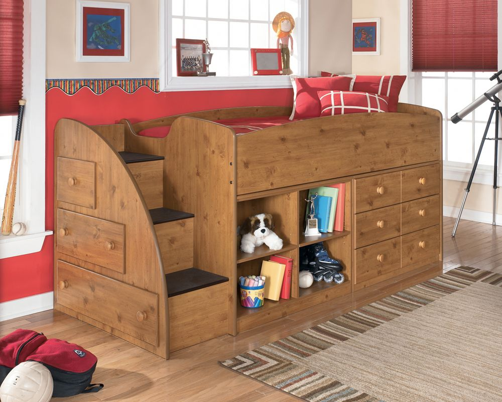 Loft bed with desk dresser   The distressed accents of the Stanford bedroom collection