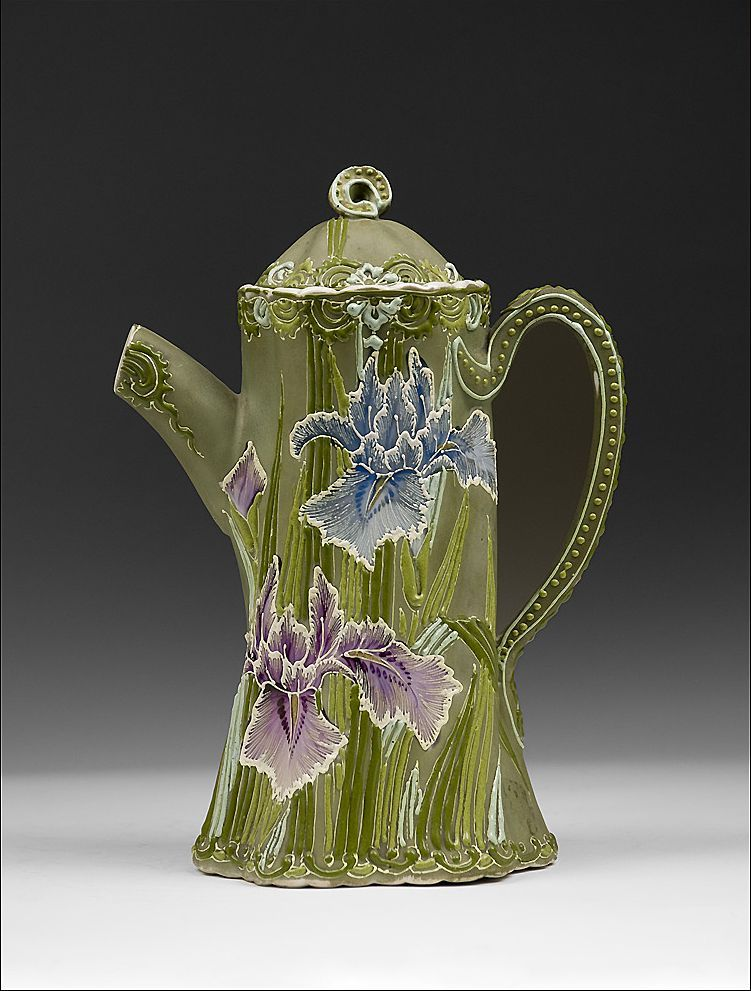 Japanese Nippon Moriage Teapot with Iris from designcorner on Ruby Lane