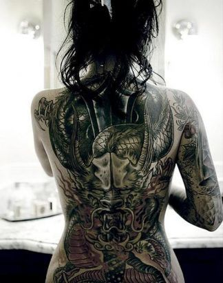 f11d58dcb Brittanya O Campo Large Dragon Tattoo Design On Back. | Celebrities ...