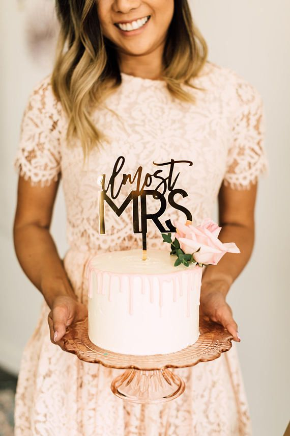Almost Mrs Laser Cut Bridal Shower Cake Topper - 5.5 Acrylic Cake Topper, Custom Bridal Shower Sign, Engagement Decor, Trendy Design