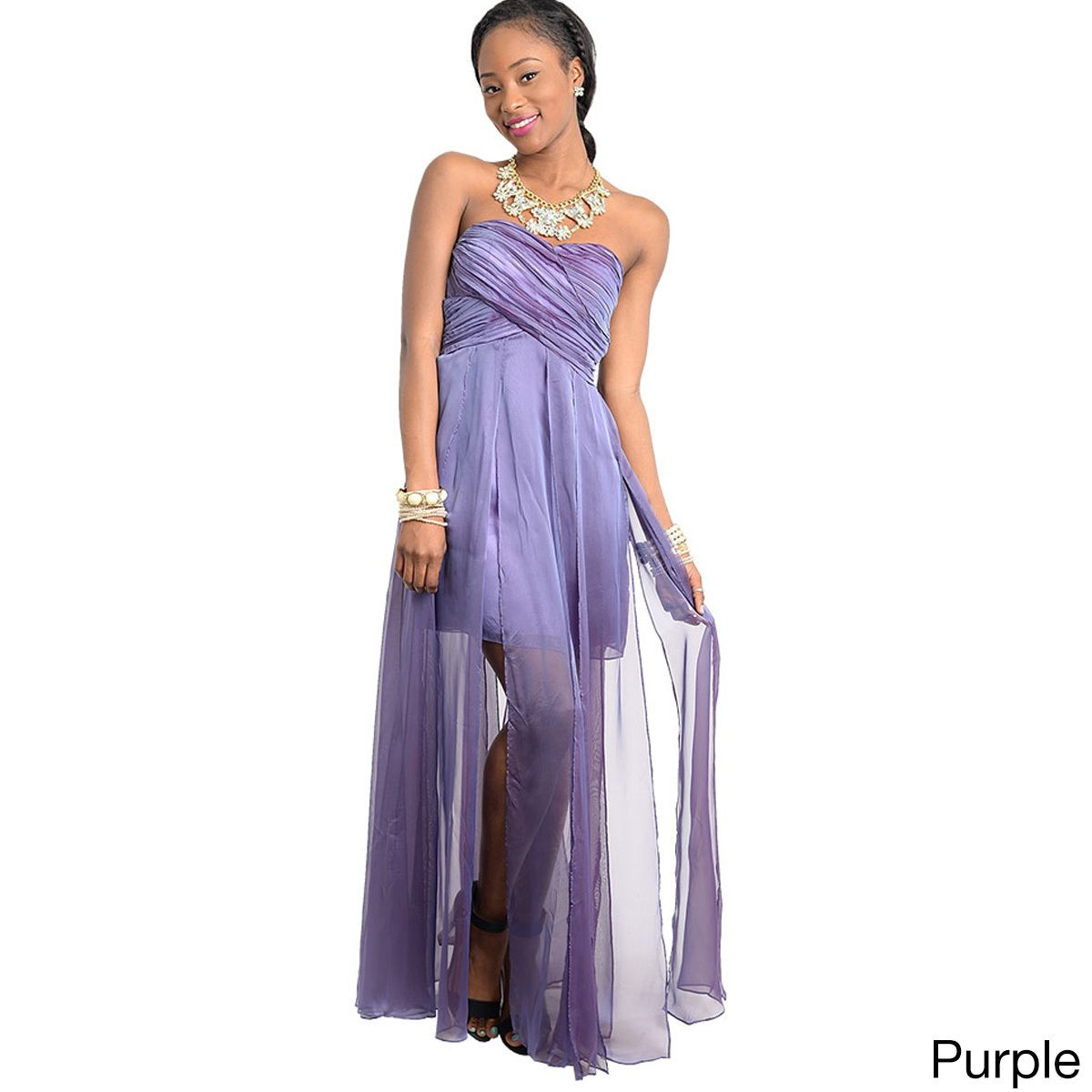 This cute Grecian style maxi dress features ruched sweetheart neck ...