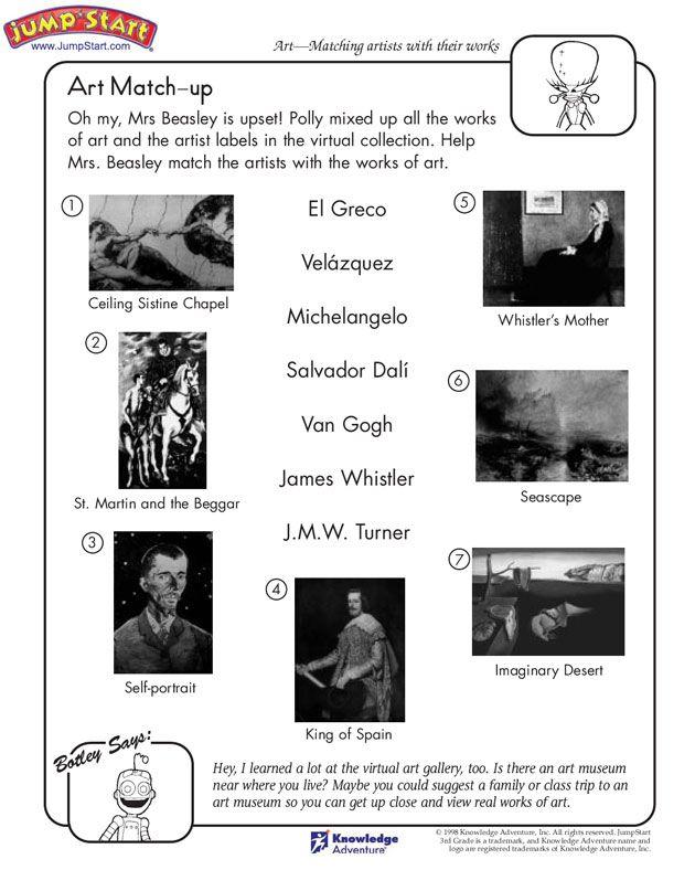 Art Match Up View 3rd Grade Art History Worksheets Jumpstart Art Worksheets Free Printable Art History Worksheets