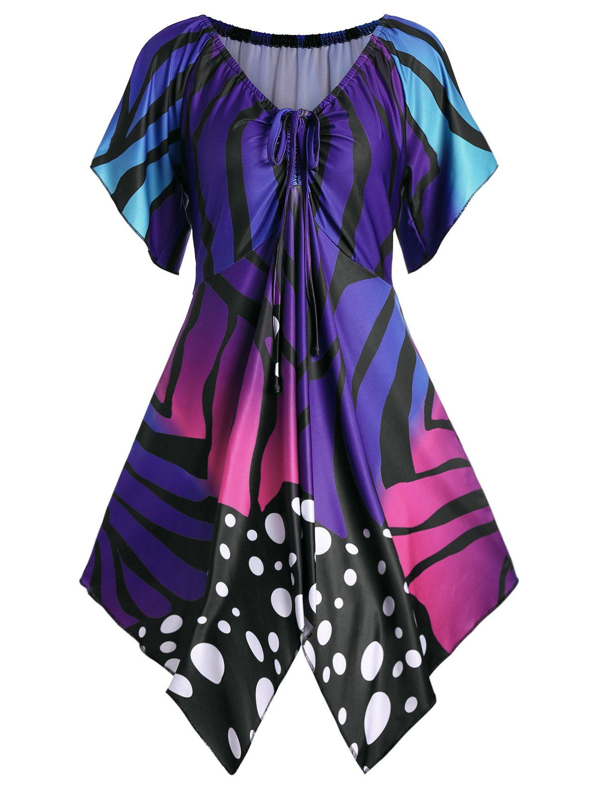 b75be6bc1c4 Butterfly Print V Neck Plus Size Tunic Top in 2019 | Women's Dresses ...