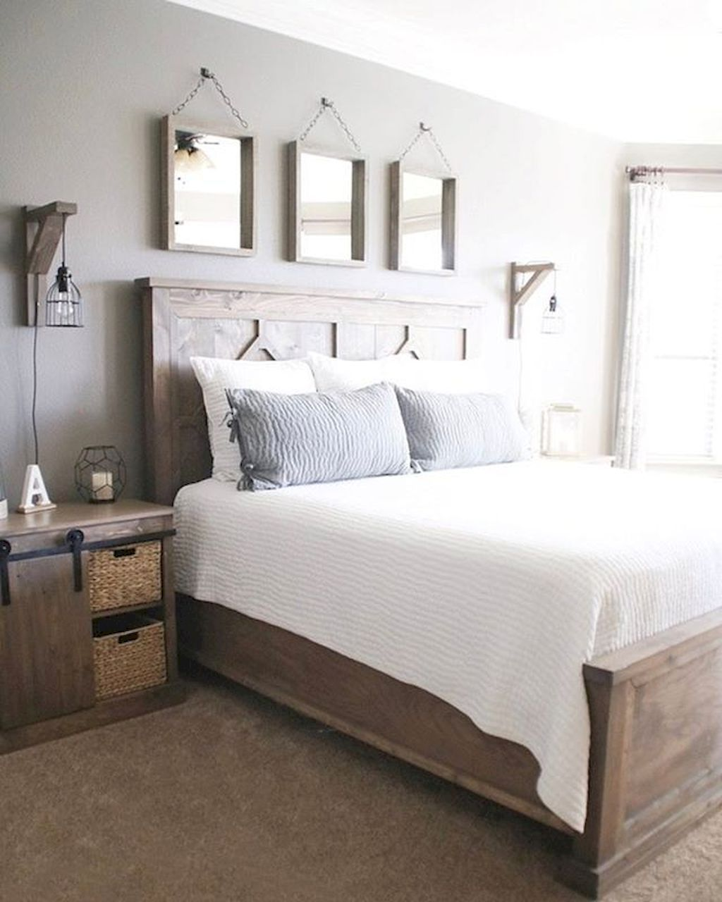 Rustic farmhouse style master bedroom ideas 22 cabin for Farmhouse master bedroom