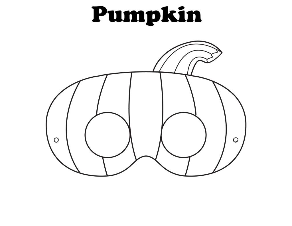 Free Printable Halloween Pumpkin Mask   Ready To Be Colored!  Free Mask Templates
