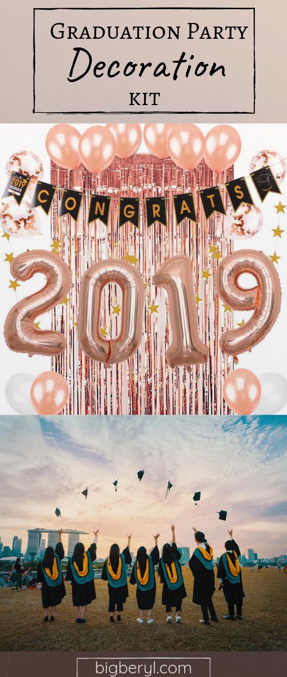 Rose Gold 2019 Graduation Party Decoration Kit For Girls (27 Pcs)