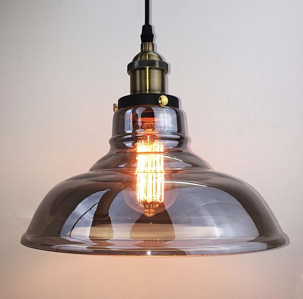 Retro Vintage Industrial Smoke Glass Shade Loft Cafe Pendant Light Ceiling  Lamp