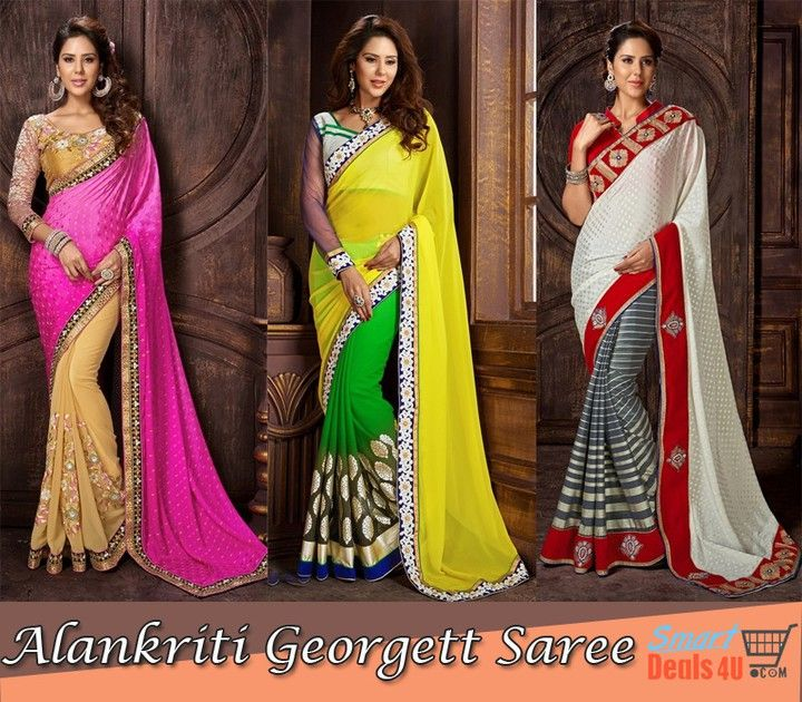 Alankriti #Georgettsaree @ Smartdeals4u.com !! http://ift.tt/1mfJxre #Georgett #Saree #smartdeals4u #dress  #Wedding #Indiansaree #Silksaree #Fabric