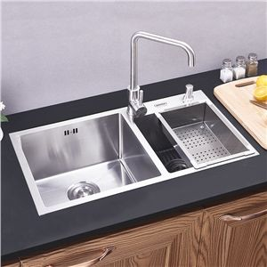 Modern Kitchen Sink 2 Bowls Brushed 304 Stainless Steel Sink