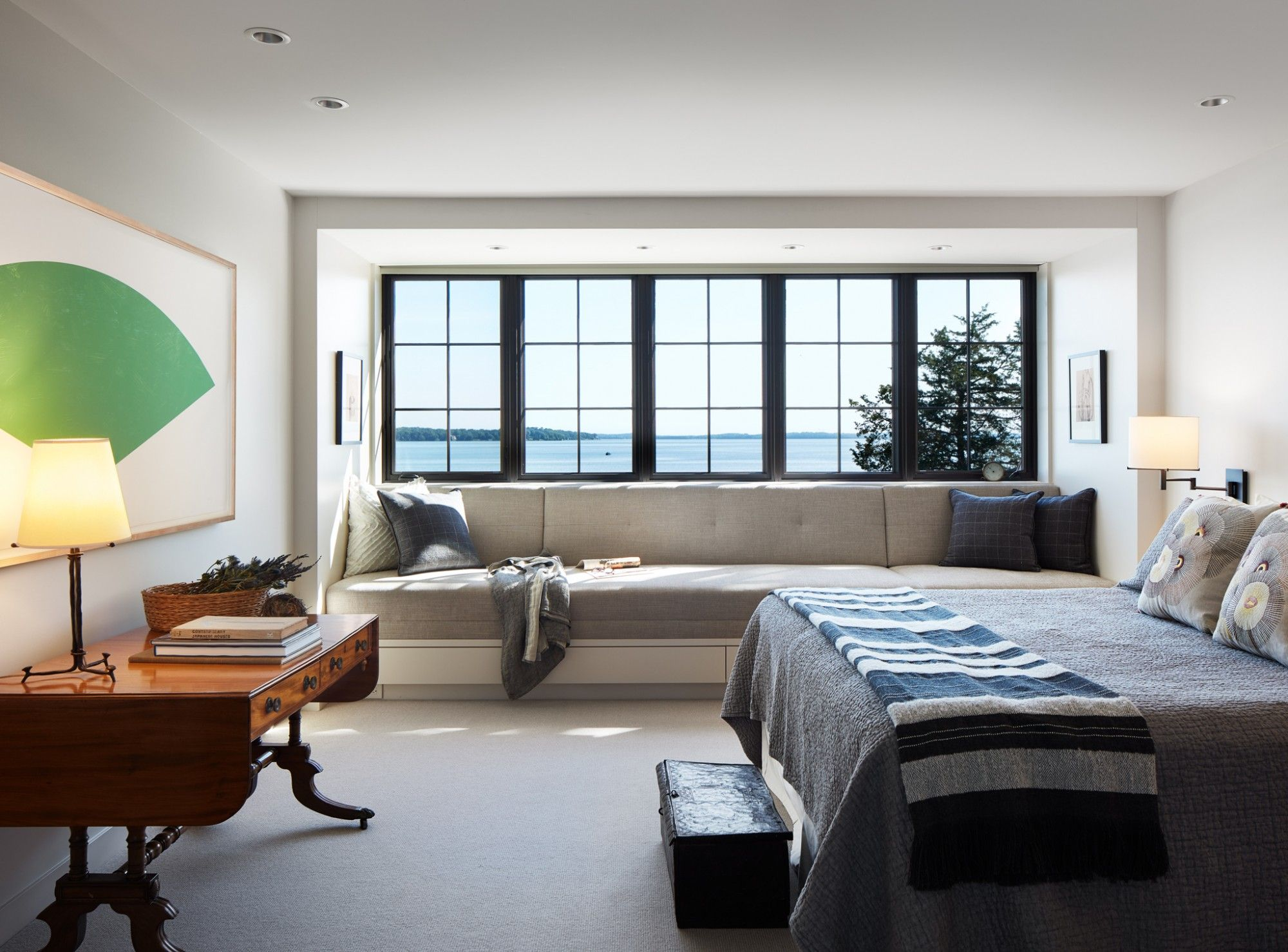 Robbins Architecture Home Warm Modern House Design Lake residence transitional bedroom