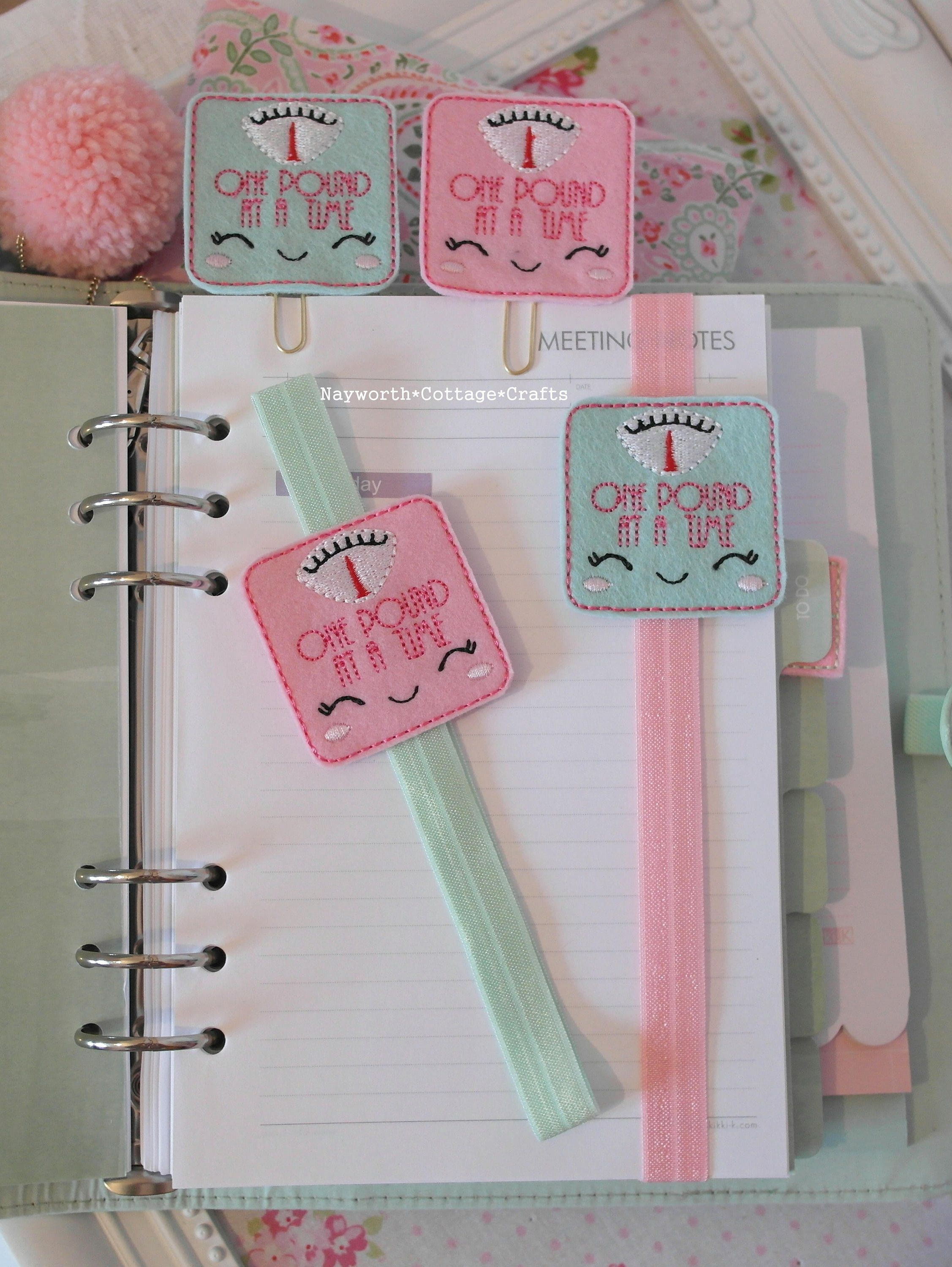 Cocoa felt paper planner clip Embroidery filofax bookmark journal handmade