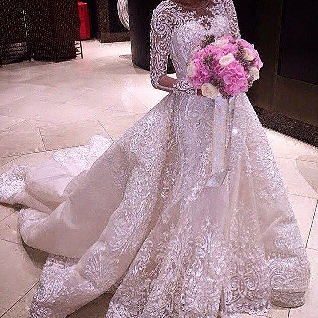 Baku Azerbaijan On Instagram Zuhairmurad Eliesaab Beautiful Wedding Dress Wedding Dress Long Sleeve Detachable Train Wedding Dress Wedding Dress Train