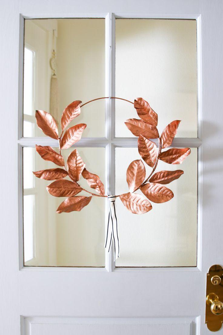 DIY Fall Wreath - Rose Gold Laurel Wreath   Diy fall ...