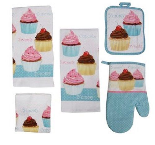 7 Piece Too Cute Cupcake Kitchen Dish Towels Set With Pot Holders And Oven  Mitt Mainstays